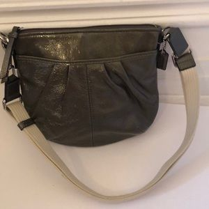 Coach gray patent leather bag